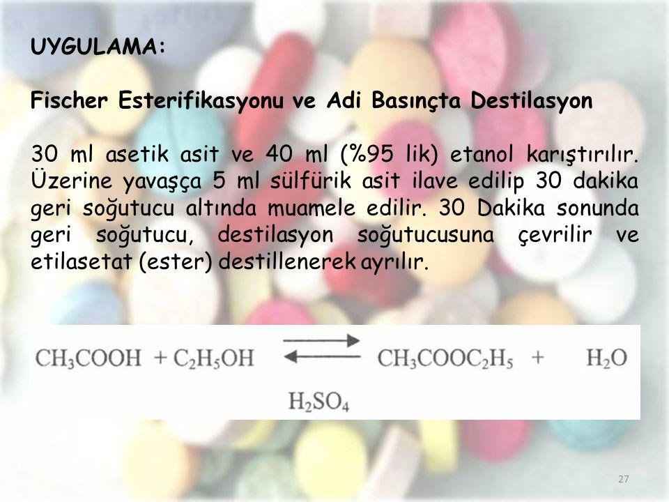 27 UYGULAMA: Fischer Esterifikasyonu ve Adi Basınçta Destilasyon 30 ml asetik asit ve 40 ml (%95 lik) etanol karıştırılır. Üzerine yavaşça 5 ml sülfür
