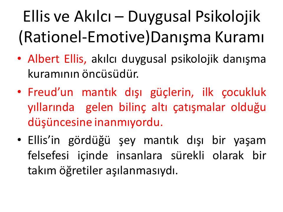 Ellis ve Akılcı – Duygusal Psikolojik (Rationel-Emotive)Danışma Kuramı Albert Ellis, akılcı duygusal psikolojik danışma kuramının öncüsüdür. Freud'un