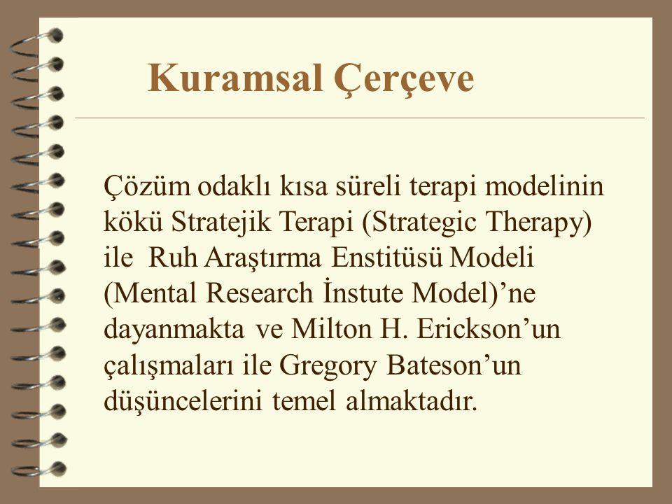 Çözüm odaklıkısa süreli terapi modelinin kökü Stratejik Terapi (Strategic Therapy) ile Ruh Araştırma Enstitüsü Modeli (Mental Research İnstute Model)'