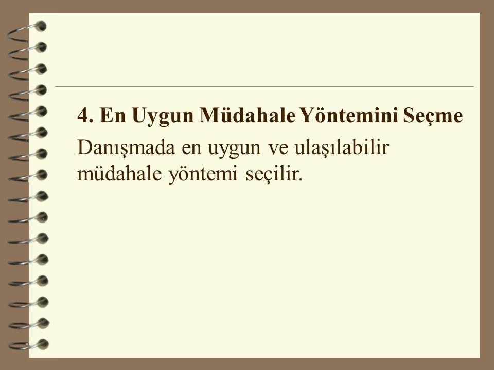 4. En Uygun Müdahale Yöntemini Seçme Danışmada en uygun ve ulaşılabilir müdahale yöntemi seçilir.
