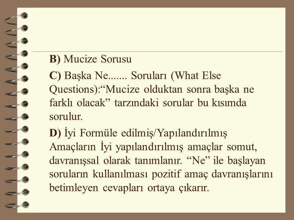 """B) Mucize Sorusu C) Başka Ne....... Soruları (What Else Questions):""""Mucize olduktan sonra başka ne farklı olacak"""" tarzındaki sorular bu kısımda sorulu"""