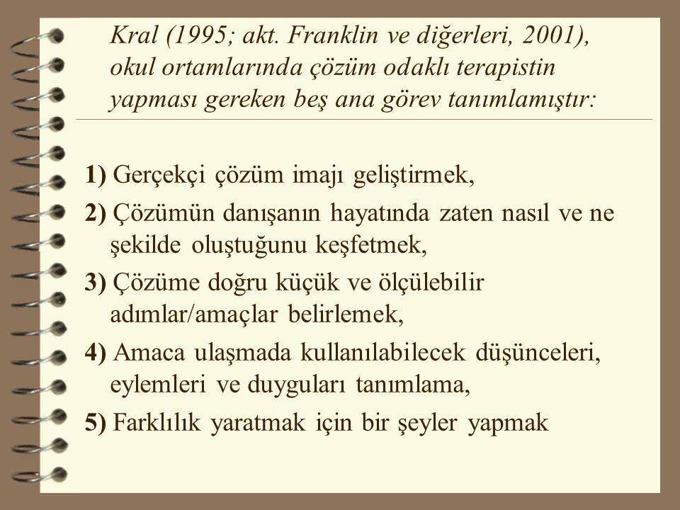 Kral (1995; akt. Franklin ve diğerleri, 2001), okul ortamlarında çözüm odaklı terapistin yapması gereken beş ana görev tanımlamıştır: 1) Gerçekçi çözü