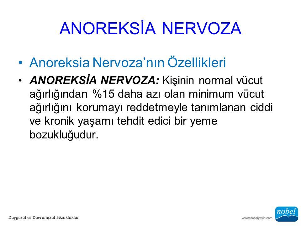 ANOREKSİA NERVOZA Anoreksia Nervoza'nın Özellikleri ANOREKSİA NERVOZA: Kişinin normal vücut ağırlığından %15 daha azı olan minimum vücut ağırlığını ko