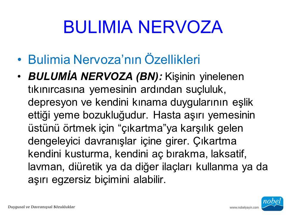 BULIMIA NERVOZA Bulimia Nervoza'nın Özellikleri BULUMİA NERVOZA (BN): Kişinin yinelenen tıkınırcasına yemesinin ardından suçluluk, depresyon ve kendin