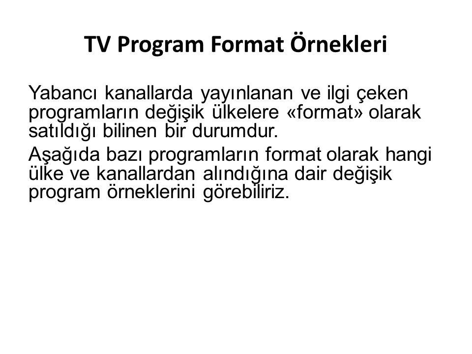 TV Program Format Örnekleri Yabancı kanallarda yayınlanan ve ilgi çeken programların değişik ülkelere «format» olarak satıldığı bilinen bir durumdur.