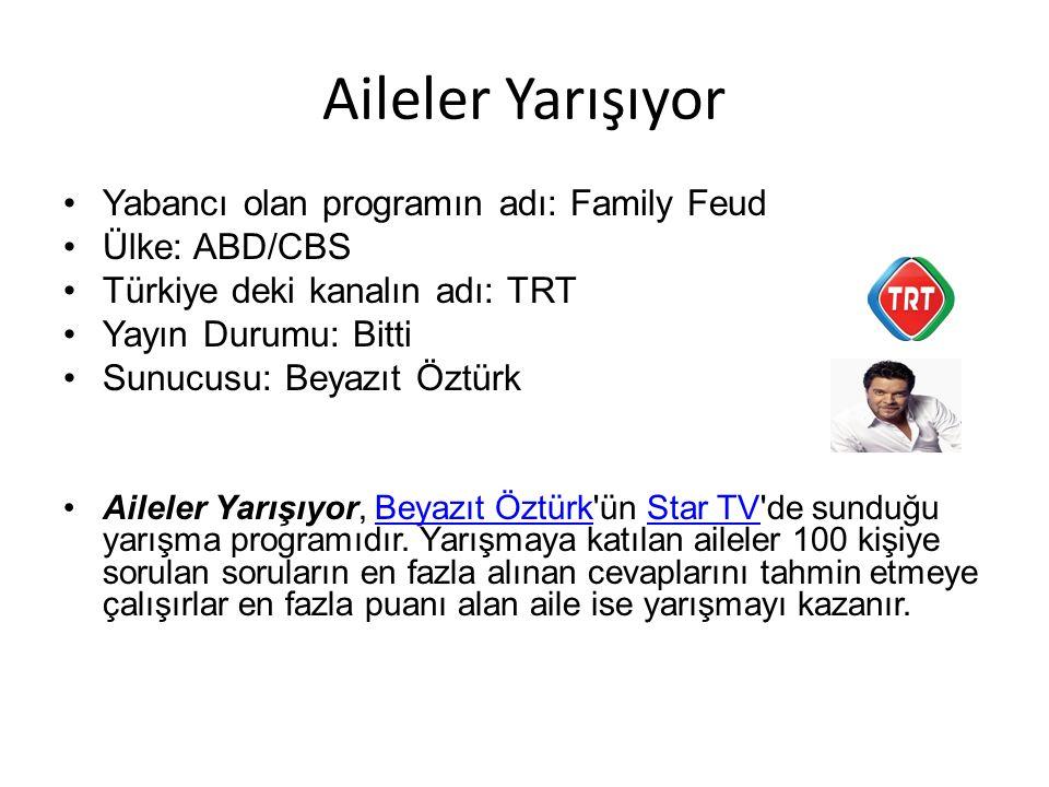 Aileler Yarışıyor Yabancı olan programın adı: Family Feud Ülke: ABD/CBS Türkiye deki kanalın adı: TRT Yayın Durumu: Bitti Sunucusu: Beyazıt Öztürk Aileler Yarışıyor, Beyazıt Öztürk ün Star TV de sunduğu yarışma programıdır.