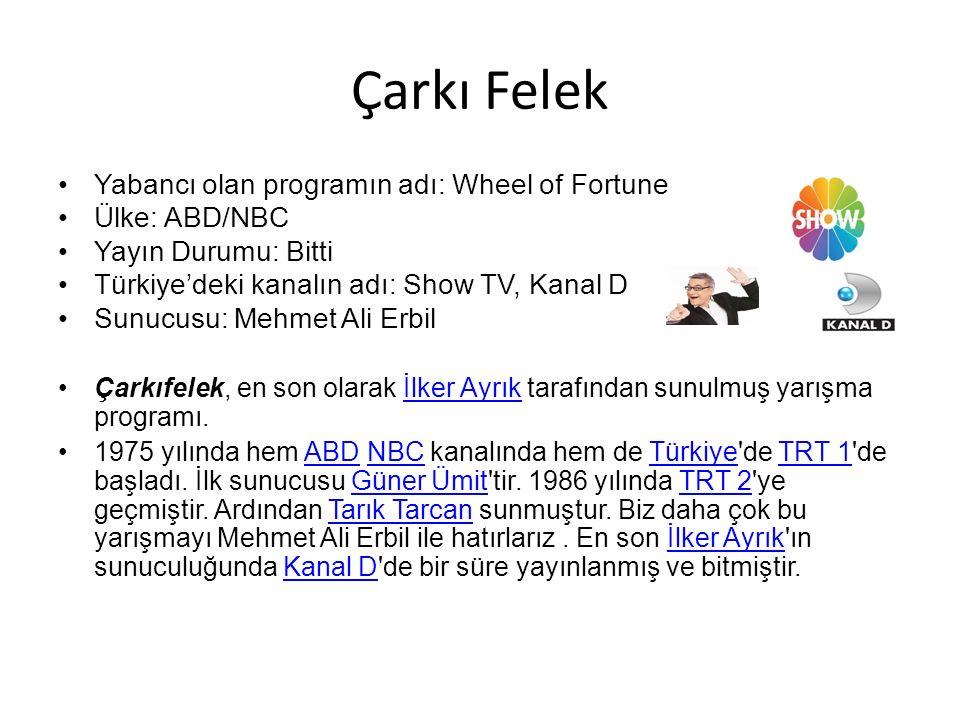 Çarkı Felek Yabancı olan programın adı: Wheel of Fortune Ülke: ABD/NBC Yayın Durumu: Bitti Türkiye'deki kanalın adı: Show TV, Kanal D Sunucusu: Mehmet Ali Erbil Çarkıfelek, en son olarak İlker Ayrık tarafından sunulmuş yarışma programı.İlker Ayrık 1975 yılında hem ABD NBC kanalında hem de Türkiye de TRT 1 de başladı.