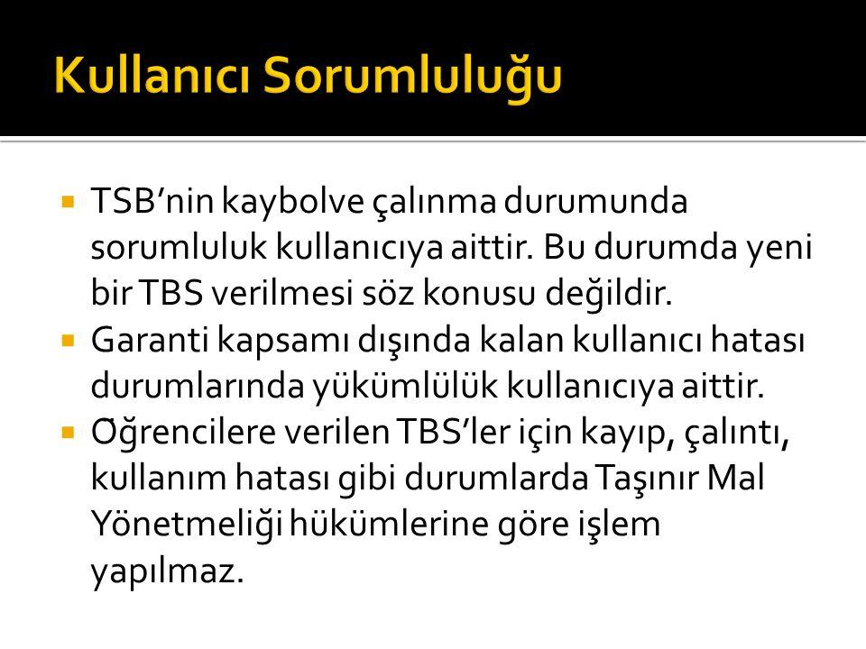  TSB'nin kaybolve çalınma durumunda sorumluluk kullanıcıya aittir.