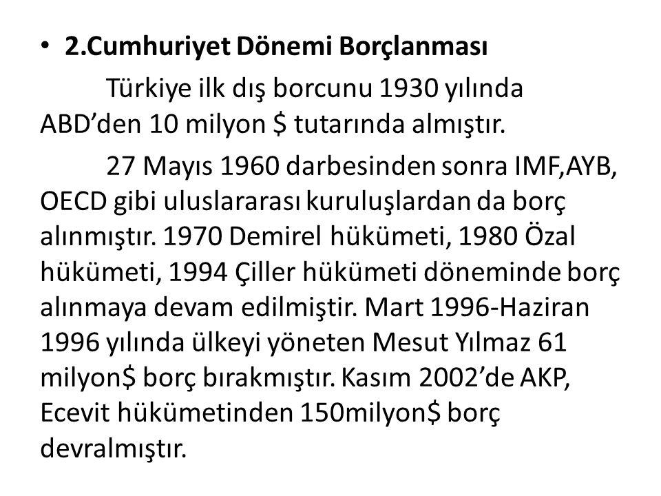 2.Cumhuriyet Dönemi Borçlanması Türkiye ilk dış borcunu 1930 yılında ABD'den 10 milyon $ tutarında almıştır.
