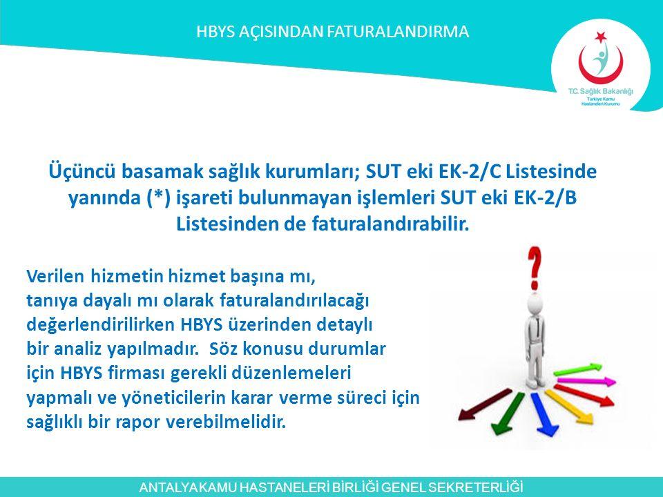 ANTALYA KAMU HASTANELERİ BİRLİĞİ GENEL SEKRETERLİĞİ Üçüncü basamak sağlık kurumları; SUT eki EK-2/C Listesinde yanında (*) işareti bulunmayan işlemler