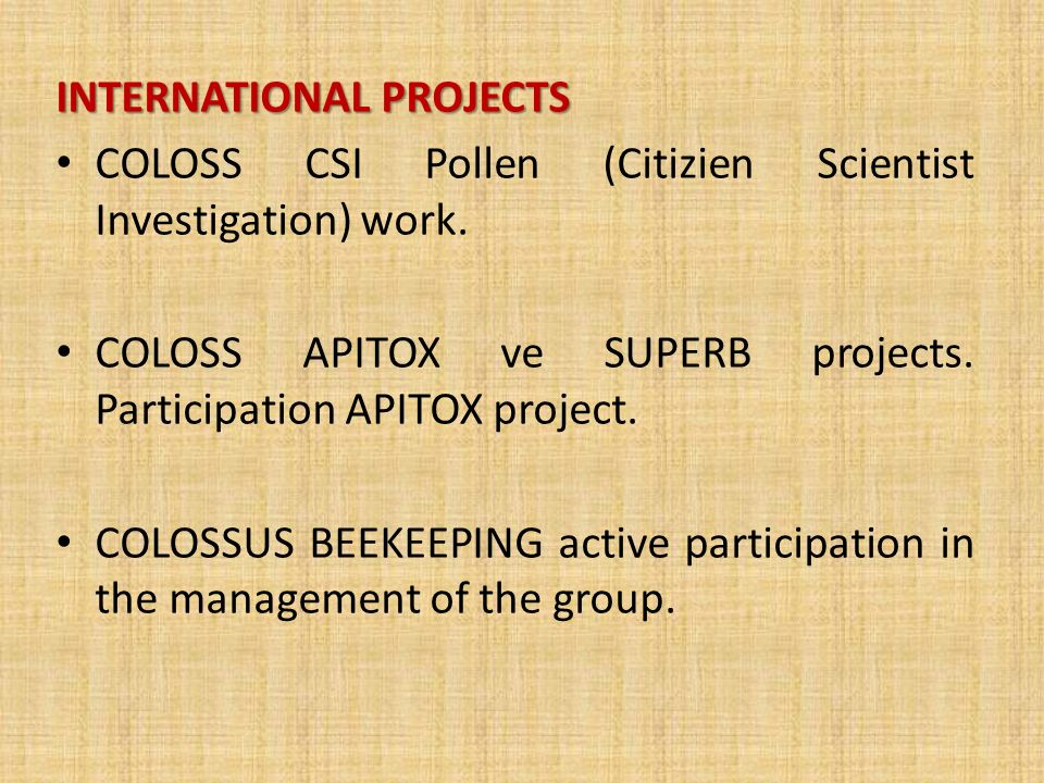 INTERNATIONAL PROJECTS COLOSS CSI Pollen (Citizien Scientist Investigation) work.