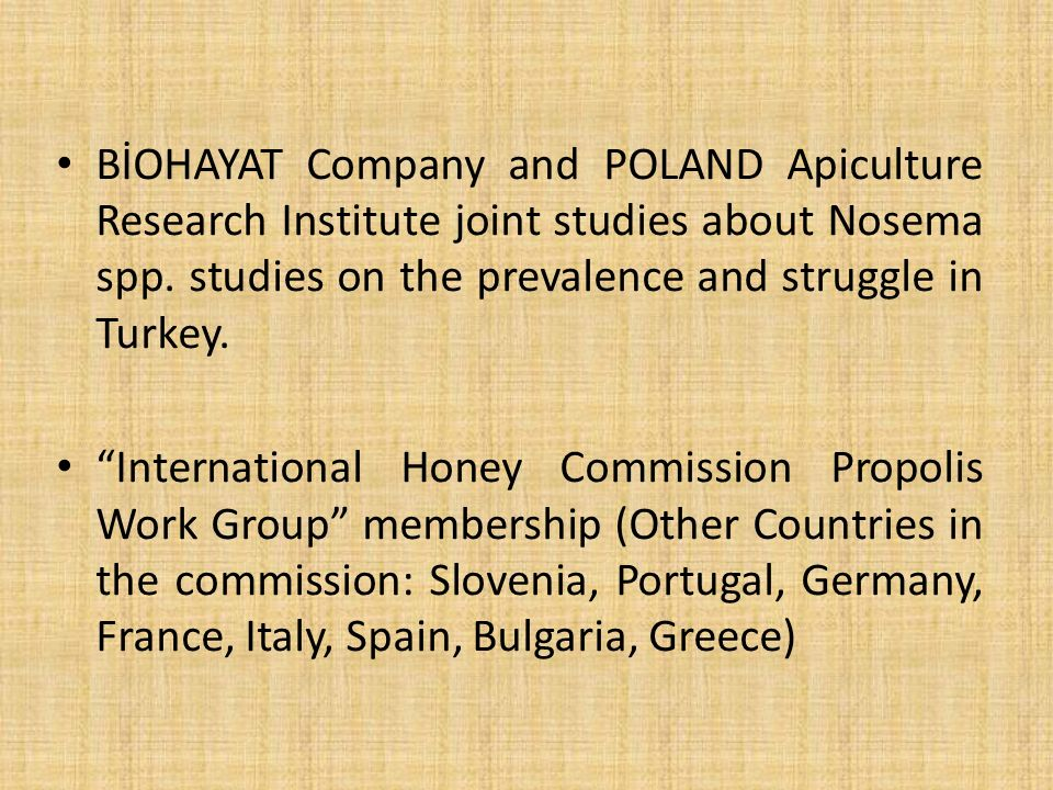 BİOHAYAT Company and POLAND Apiculture Research Institute joint studies about Nosema spp.