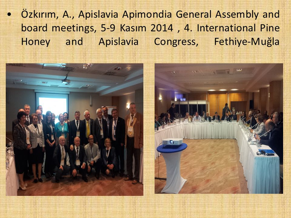 Özkırım, A., Apislavia Apimondia General Assembly and board meetings, 5-9 Kasım 2014, 4. International Pine Honey and Apislavia Congress, Fethiye-Muğl