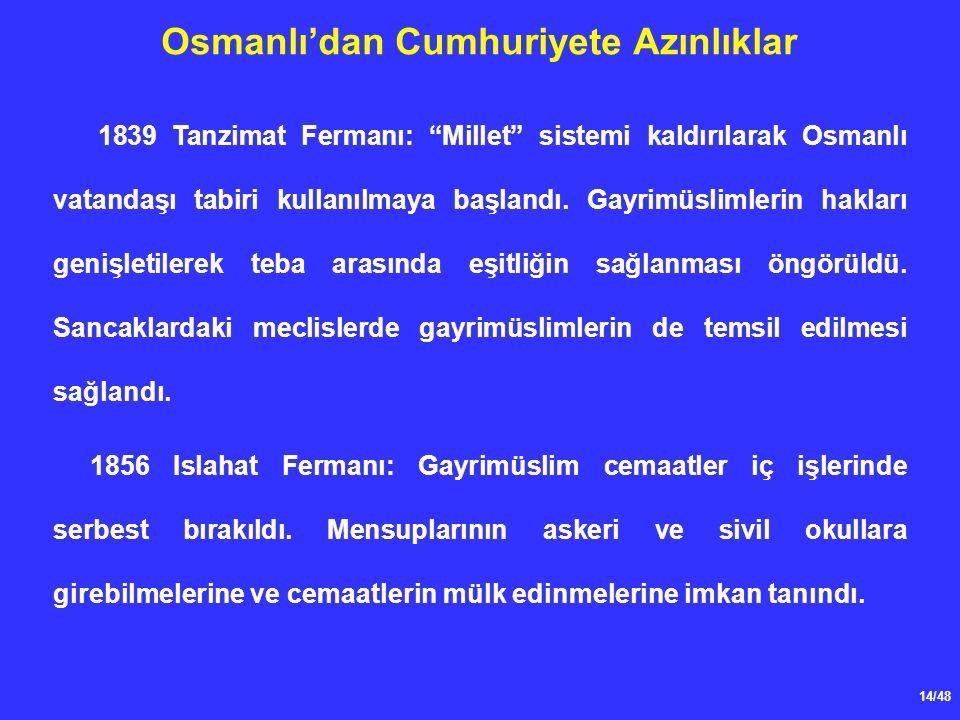 14/48 Osmanlı'dan Cumhuriyete Azınlıklar 1839 Tanzimat Fermanı: Millet sistemi kaldırılarak Osmanlı vatandaşı tabiri kullanılmaya başlandı.