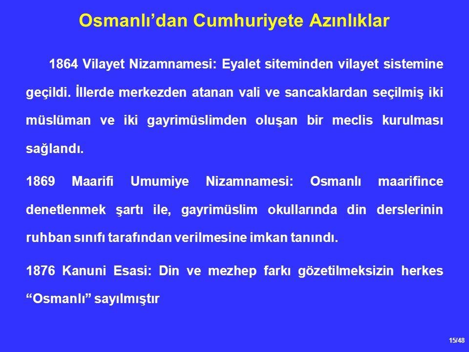 15/48 Osmanlı'dan Cumhuriyete Azınlıklar 1864 Vilayet Nizamnamesi: Eyalet siteminden vilayet sistemine geçildi.