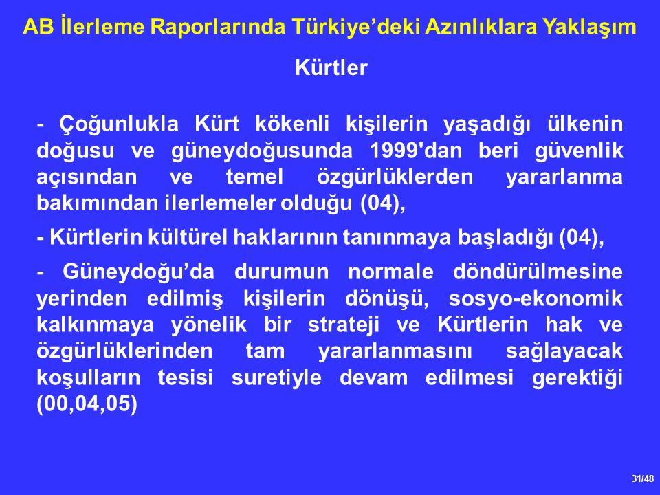 31/48 AB İlerleme Raporlarında Türkiye'deki Azınlıklara Yaklaşım - Çoğunlukla Kürt kökenli kişilerin yaşadığı ülkenin doğusu ve güneydoğusunda 1999 dan beri güvenlik açısından ve temel özgürlüklerden yararlanma bakımından ilerlemeler olduğu (04), - Kürtlerin kültürel haklarının tanınmaya başladığı (04), - Güneydoğu'da durumun normale döndürülmesine yerinden edilmiş kişilerin dönüşü, sosyo-ekonomik kalkınmaya yönelik bir strateji ve Kürtlerin hak ve özgürlüklerinden tam yararlanmasını sağlayacak koşulların tesisi suretiyle devam edilmesi gerektiği (00,04,05) Kürtler