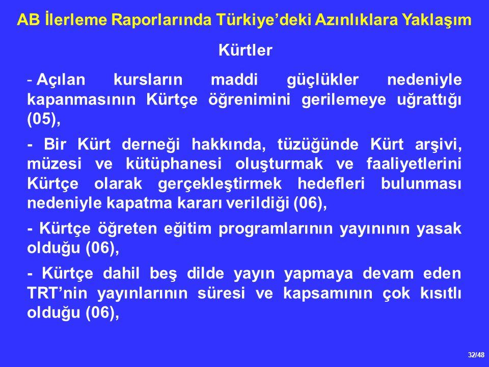 32/48 AB İlerleme Raporlarında Türkiye'deki Azınlıklara Yaklaşım - Açılan kursların maddi güçlükler nedeniyle kapanmasının Kürtçe öğrenimini gerilemeye uğrattığı (05), - Bir Kürt derneği hakkında, tüzüğünde Kürt arşivi, müzesi ve kütüphanesi oluşturmak ve faaliyetlerini Kürtçe olarak gerçekleştirmek hedefleri bulunması nedeniyle kapatma kararı verildiği (06), - Kürtçe öğreten eğitim programlarının yayınının yasak olduğu (06), - Kürtçe dahil beş dilde yayın yapmaya devam eden TRT'nin yayınlarının süresi ve kapsamının çok kısıtlı olduğu (06), Kürtler