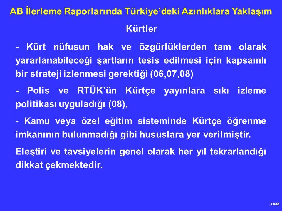 33/48 AB İlerleme Raporlarında Türkiye'deki Azınlıklara Yaklaşım - Kürt nüfusun hak ve özgürlüklerden tam olarak yararlanabileceği şartların tesis edilmesi için kapsamlı bir strateji izlenmesi gerektiği (06,07,08) - Polis ve RTÜK'ün Kürtçe yayınlara sıkı izleme politikası uyguladığı (08), - Kamu veya özel eğitim sisteminde Kürtçe öğrenme imkanının bulunmadığı gibi hususlara yer verilmiştir.