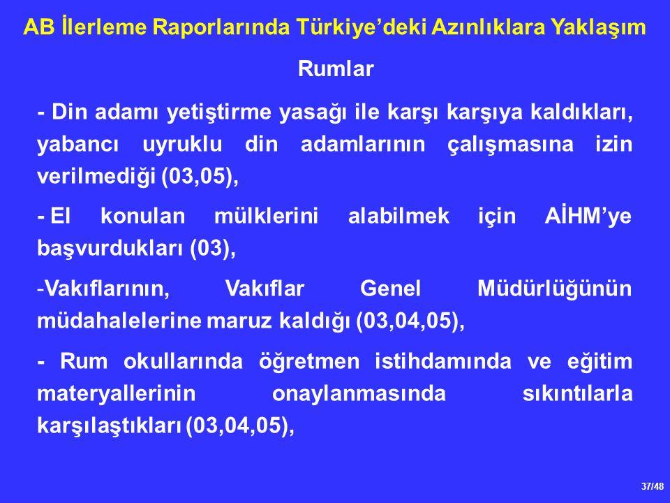 37/48 AB İlerleme Raporlarında Türkiye'deki Azınlıklara Yaklaşım - Din adamı yetiştirme yasağı ile karşı karşıya kaldıkları, yabancı uyruklu din adamlarının çalışmasına izin verilmediği (03,05), -El konulan mülklerini alabilmek için AİHM'ye başvurdukları (03), -Vakıflarının, Vakıflar Genel Müdürlüğünün müdahalelerine maruz kaldığı (03,04,05), - Rum okullarında öğretmen istihdamında ve eğitim materyallerinin onaylanmasında sıkıntılarla karşılaştıkları (03,04,05), Rumlar