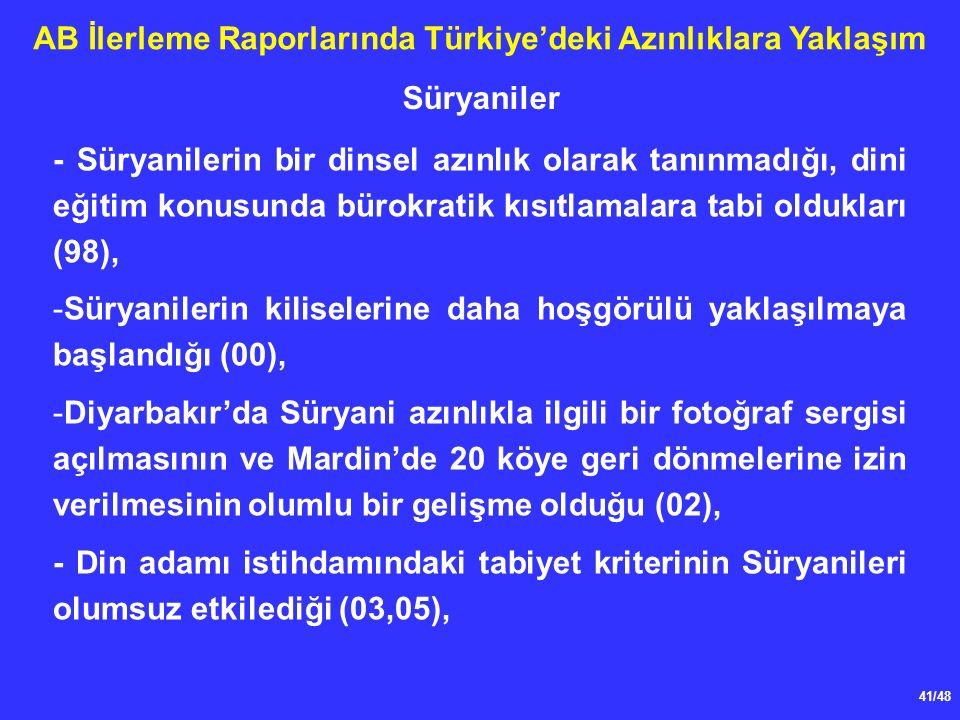 41/48 AB İlerleme Raporlarında Türkiye'deki Azınlıklara Yaklaşım - Süryanilerin bir dinsel azınlık olarak tanınmadığı, dini eğitim konusunda bürokratik kısıtlamalara tabi oldukları (98), -Süryanilerin kiliselerine daha hoşgörülü yaklaşılmaya başlandığı (00), -Diyarbakır'da Süryani azınlıkla ilgili bir fotoğraf sergisi açılmasının ve Mardin'de 20 köye geri dönmelerine izin verilmesinin olumlu bir gelişme olduğu (02), - Din adamı istihdamındaki tabiyet kriterinin Süryanileri olumsuz etkilediği (03,05), Süryaniler