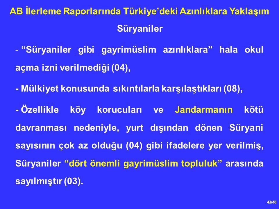 42/48 AB İlerleme Raporlarında Türkiye'deki Azınlıklara Yaklaşım - Süryaniler gibi gayrimüslim azınlıklara hala okul açma izni verilmediği (04), - Mülkiyet konusunda sıkıntılarla karşılaştıkları (08), -Özellikle köy korucuları ve Jandarmanın kötü davranması nedeniyle, yurt dışından dönen Süryani sayısının çok az olduğu (04) gibi ifadelere yer verilmiş, Süryaniler dört önemli gayrimüslim topluluk arasında sayılmıştır (03).