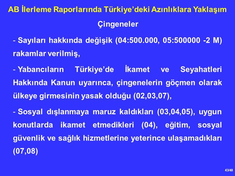 43/48 AB İlerleme Raporlarında Türkiye'deki Azınlıklara Yaklaşım - Sayıları hakkında değişik (04:500.000, 05:500000 -2 M) rakamlar verilmiş, - Yabancıların Türkiye'de İkamet ve Seyahatleri Hakkında Kanun uyarınca, çingenelerin göçmen olarak ülkeye girmesinin yasak olduğu (02,03,07), - Sosyal dışlanmaya maruz kaldıkları (03,04,05), uygun konutlarda ikamet etmedikleri (04), eğitim, sosyal güvenlik ve sağlık hizmetlerine yeterince ulaşamadıkları (07,08) Çingeneler