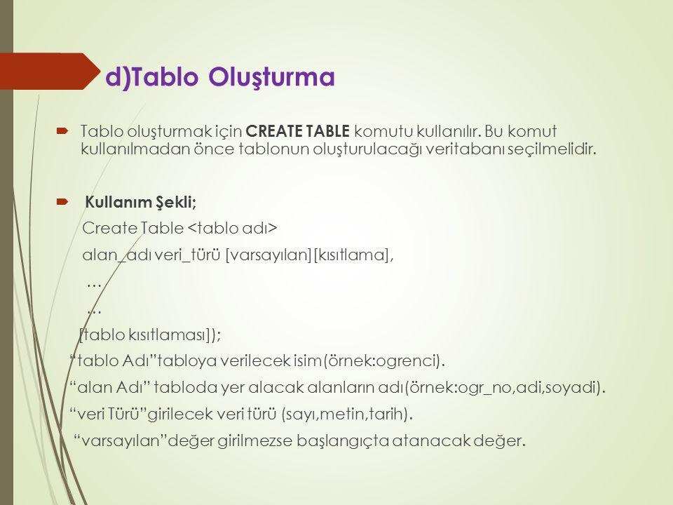 d)Tablo Oluşturma  Tablo oluşturmak için CREATE TABLE komutu kullanılır. Bu komut kullanılmadan önce tablonun oluşturulacağı veritabanı seçilmelidir.
