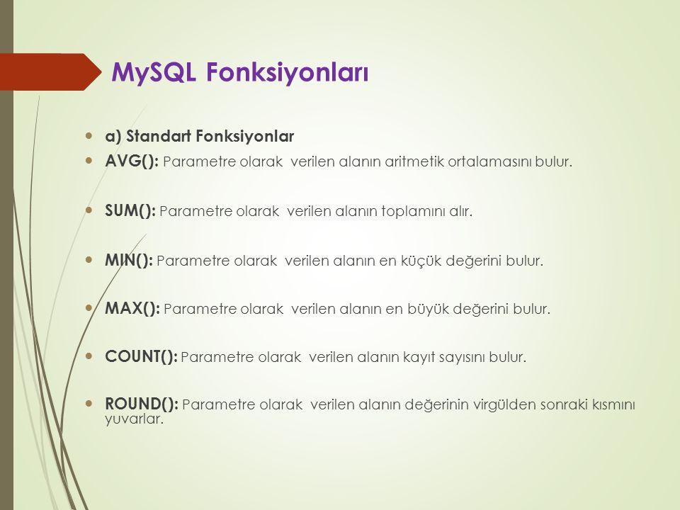 MySQL Fonksiyonları a) Standart Fonksiyonlar AVG(): Parametre olarak verilen alanın aritmetik ortalamasını bulur. SUM(): Parametre olarak verilen alan