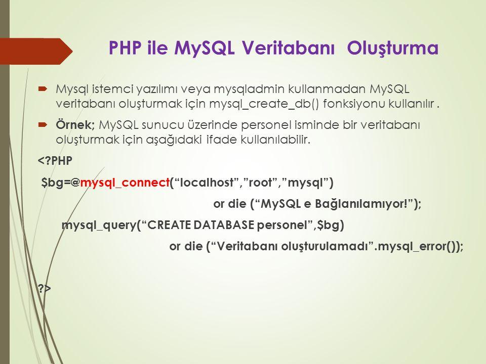 PHP ile MySQL Veritabanı Oluşturma  Mysql istemci yazılımı veya mysqladmin kullanmadan MySQL veritabanı oluşturmak için mysql_create_db() fonksiyonu