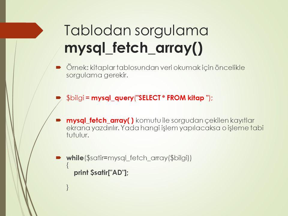 Tablodan sorgulama mysql_fetch_array()  Örnek: kitaplar tablosundan veri okumak için öncelikle sorgulama gerekir.  $bilgi = mysql_query (