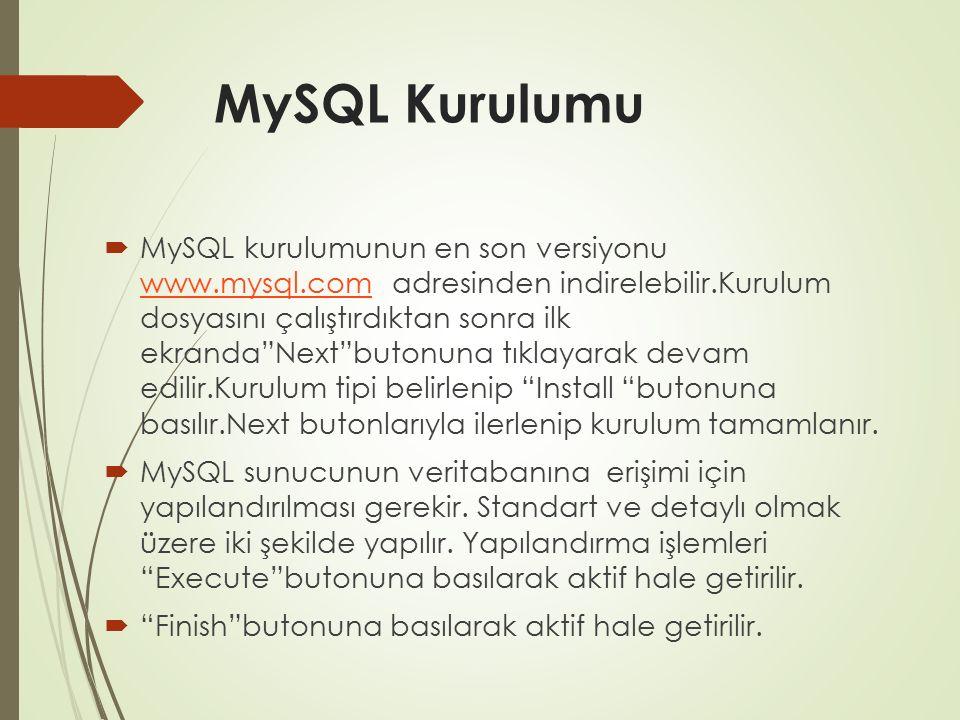"""MySQL Kurulumu  MySQL kurulumunun en son versiyonu www.mysql.com adresinden indirelebilir.Kurulum dosyasını çalıştırdıktan sonra ilk ekranda""""Next""""but"""