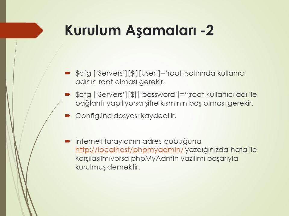 """Kurulum Aşamaları -2  $cfg ['Servers'][$i][User']='root';satırında kullanıcı adının root olması gerekir.  $cfg ['Servers'][$]['password']="""";root kul"""