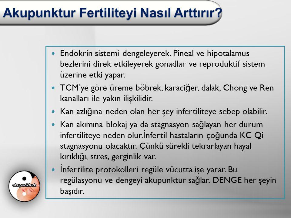 Akupunktur Fertiliteyi Nasıl Arttırır? Endokrin sistemi dengeleyerek. Pineal ve hipotalamus bezlerini direk etkileyerek gonadlar ve reproduktif sistem