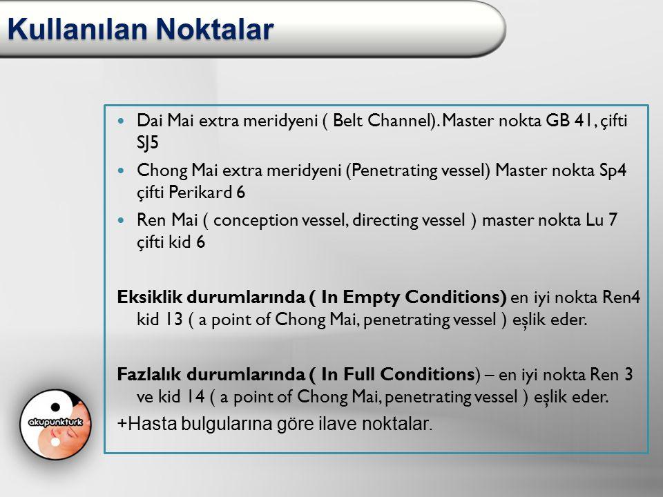 Kullanılan Noktalar Dai Mai extra meridyeni ( Belt Channel). Master nokta GB 41, çifti SJ5 Chong Mai extra meridyeni (Penetrating vessel) Master nokta