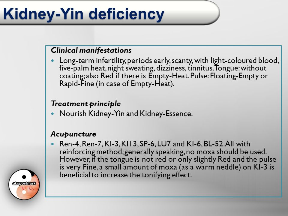 Kidney-Yin deficiency Clinical manifestations Long-term infertility, periods early, scanty, with light-coloured blood, five-palm heat, night sweating,