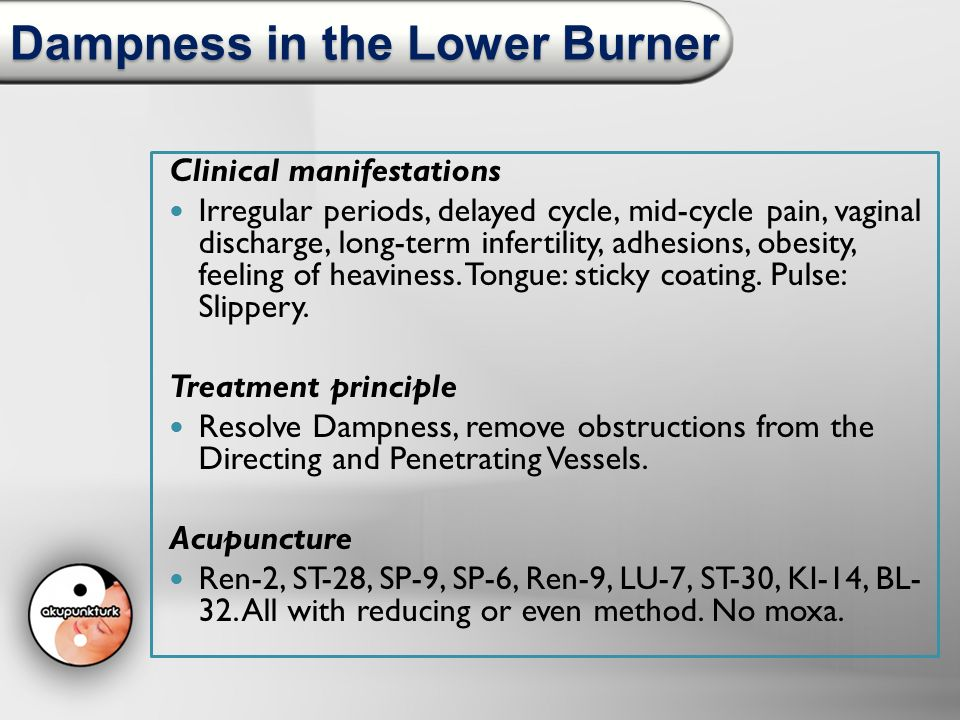 Dampness in the Lower Burner Clinical manifestations Irregular periods, delayed cycle, mid-cycle pain, vaginal discharge, long-term infertility, adhes