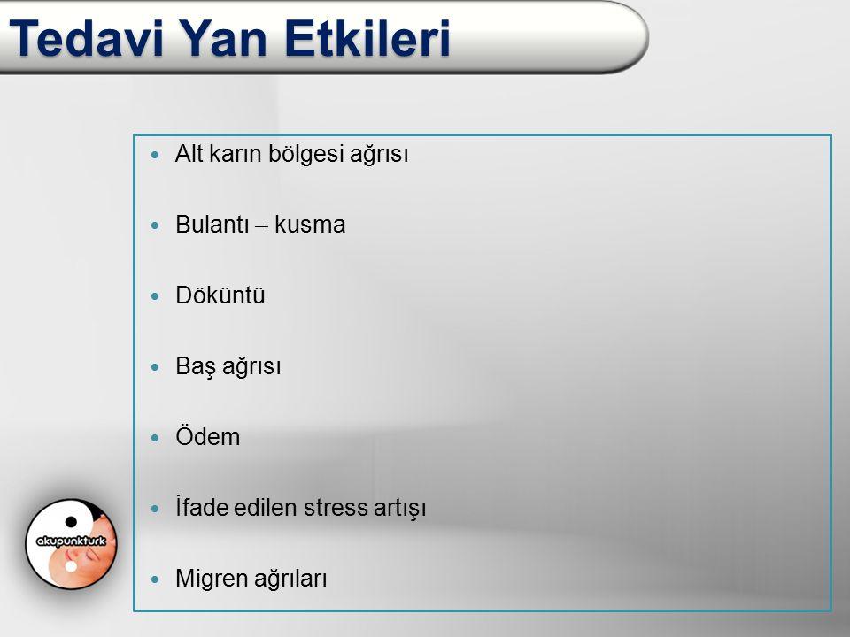 Tedavi Yan Etkileri Sadece ovulasyon indüksiyonu yapılan hastalarda 95 siklusta 21 yan etki şikayeti, ovulasyon indüksiyonu + akupunktur yapılan hastalarda 89 siklusta 9 yan etki şikayeti