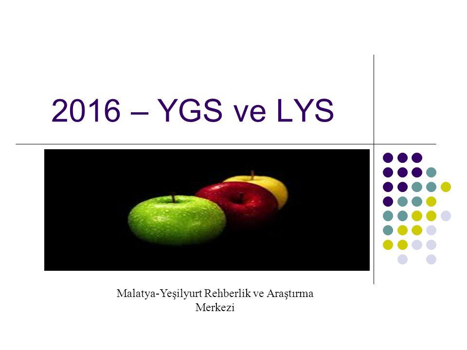2016 – YGS ve LYS Malatya-Yeşilyurt Rehberlik ve Araştırma Merkezi