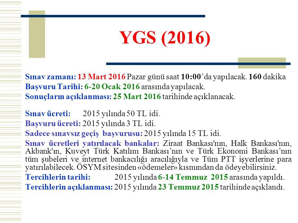 YGS (2016) Sınav zamanı: 13 Mart 2016 Pazar günü saat 10:00'da yapılacak. 160 dakika Başvuru Tarihi: 6-20 Ocak 2016 arasında yapılacak. Sonuçların açı