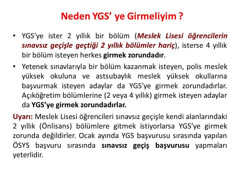 Puan Türü TESTLERİN AĞIRLIKLARI (% OLARAK) YGS LYS-3LYS-4 Türkçe Tem.