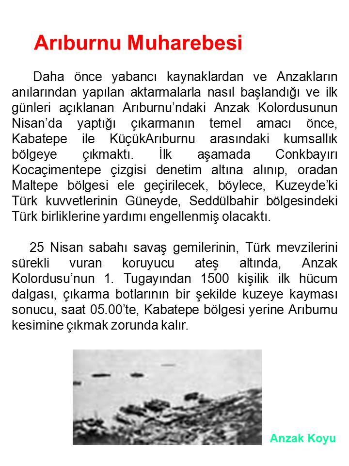 Arıburnu Muharebesi Daha önce yabancı kaynaklardan ve Anzakların anılarından yapılan aktarmalarla nasıl başlandığı ve ilk günleri açıklanan Arıburnu'n