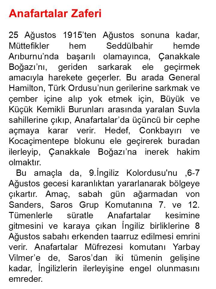 Anafartalar Zaferi 25 Ağustos 1915'ten Ağustos sonuna kadar, Müttefikler hem Seddülbahir hemde Arıburnu'nda başarılı olamayınca, Çanakkale Boğazı'nı,