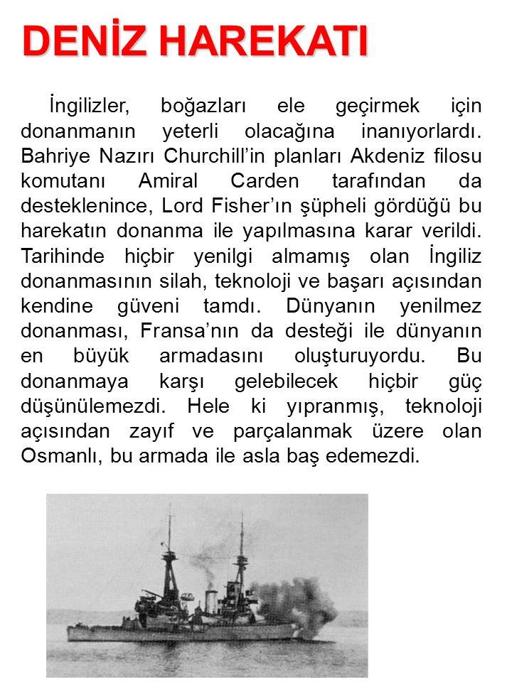 İngilizler, boğazları ele geçirmek için donanmanın yeterli olacağına inanıyorlardı. Bahriye Nazırı Churchill'in planları Akdeniz filosu komutanı Amira