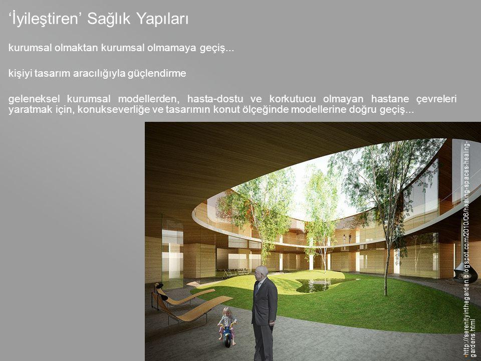 your name http://serenityinthegarden.blogspot.com/2010/06/healing-spaces-healing- gardens.html 'İyileştiren' Sağlık Yapıları kurumsal olmaktan kurumsal olmamaya geçiş...