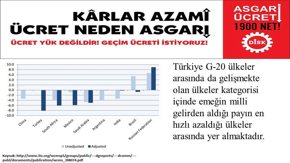 Türkiye G-20 ülkeler arasında da gelişmekte olan ülkeler kategorisi içinde emeğin milli gelirden aldığı payın en hızlı azaldığı ülkeler arasında yer almaktadır.