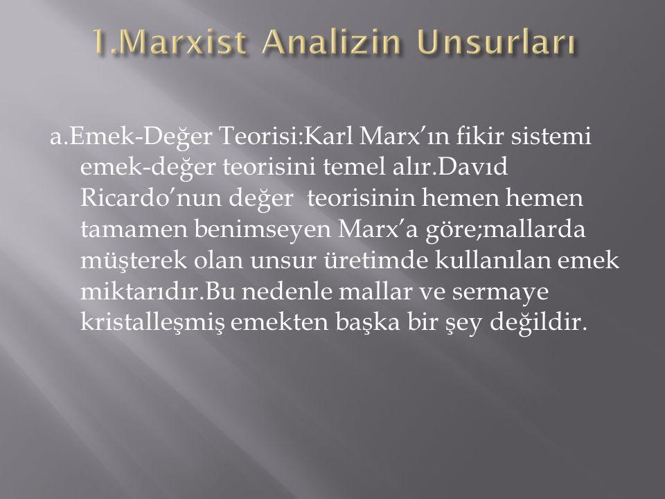 a.Emek-Değer Teorisi:Karl Marx'ın fikir sistemi emek-değer teorisini temel alır.Davıd Ricardo'nun değer teorisinin hemen hemen tamamen benimseyen Marx