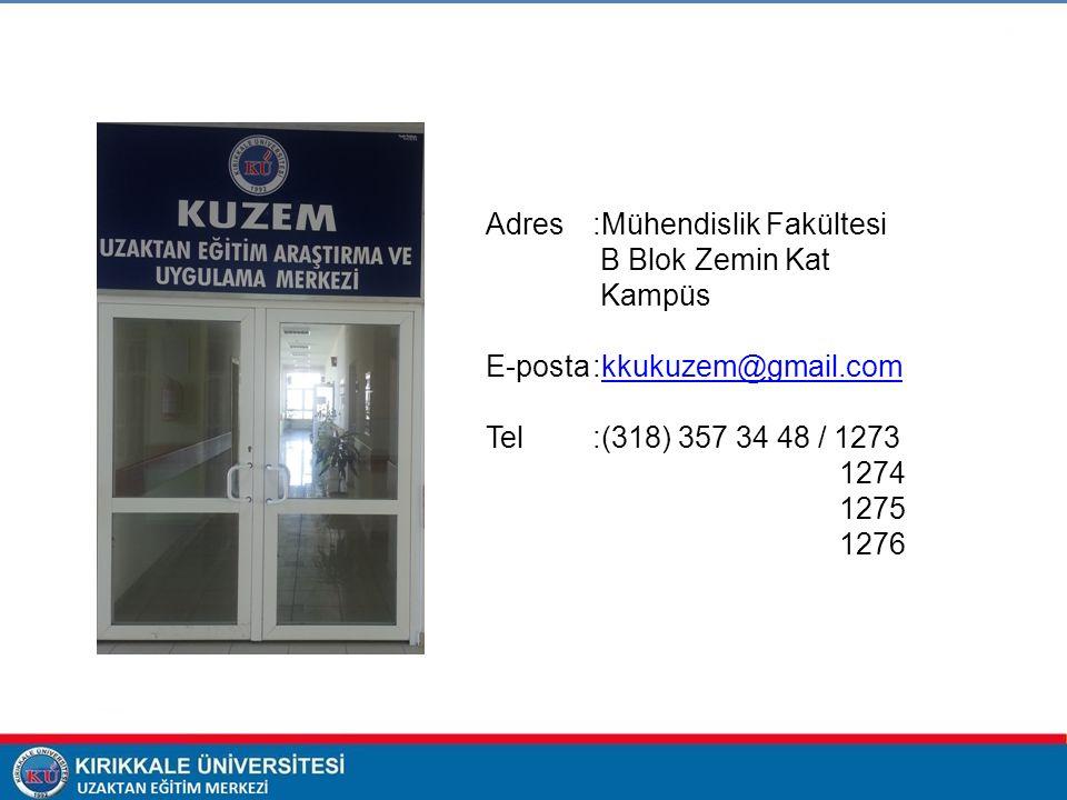 Adres :Mühendislik Fakültesi B Blok Zemin Kat Kampüs E-posta:kkukuzem@gmail.comkkukuzem@gmail.com Tel :(318) 357 34 48 / 1273 1274 1275 1276