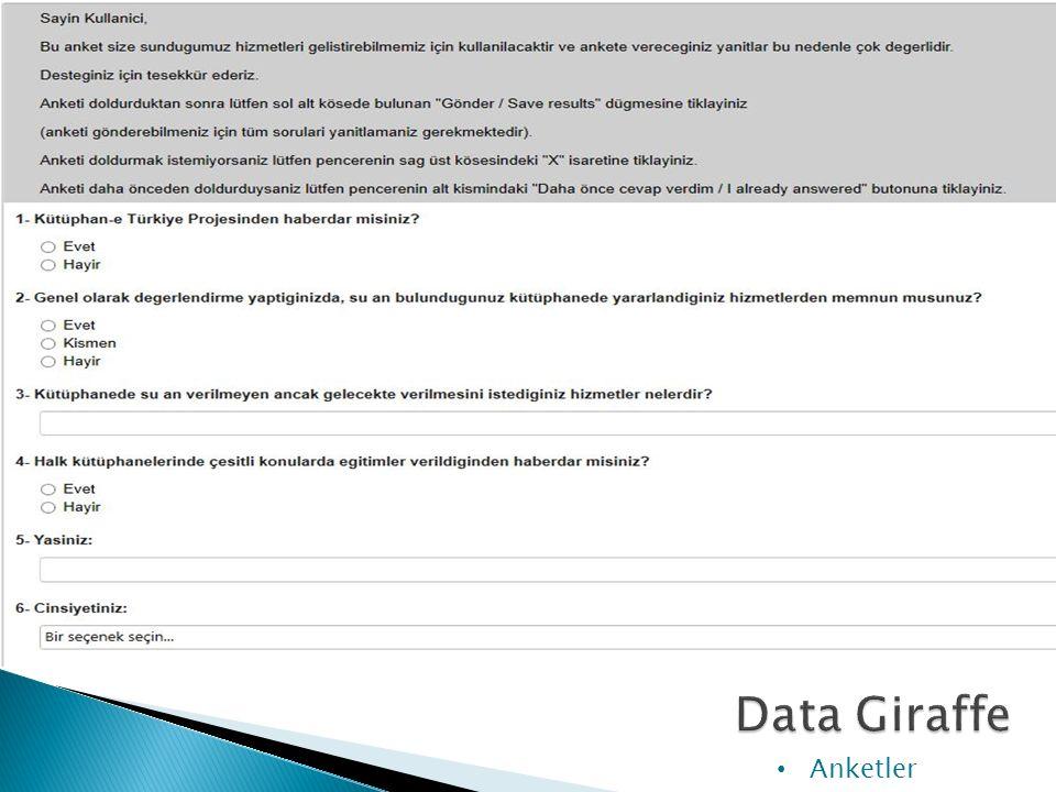 DG programından şimdiye kadar 4 anket yapılmış olup toplamda 4464 adet yanıt alınmıştır. Anketler