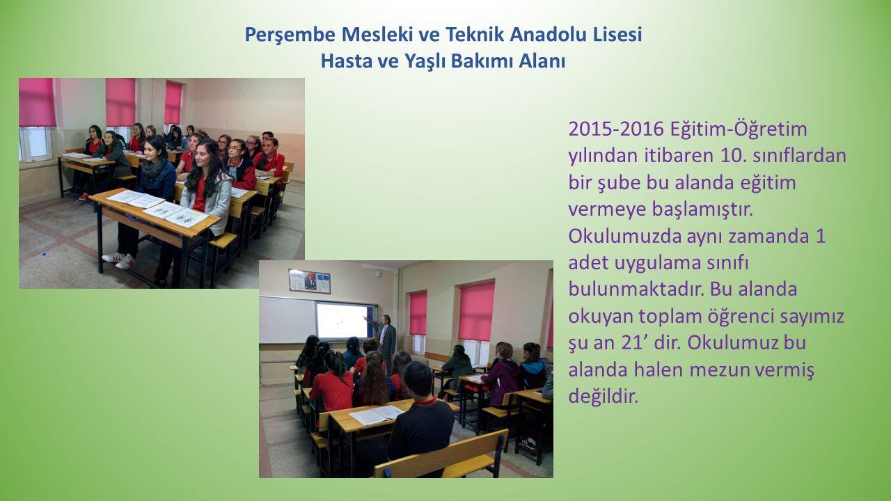 Perşembe Mesleki ve Teknik Anadolu Lisesi Hasta ve Yaşlı Bakımı Alanı 2015-2016 Eğitim-Öğretim yılından itibaren 10. sınıflardan bir şube bu alanda eğ