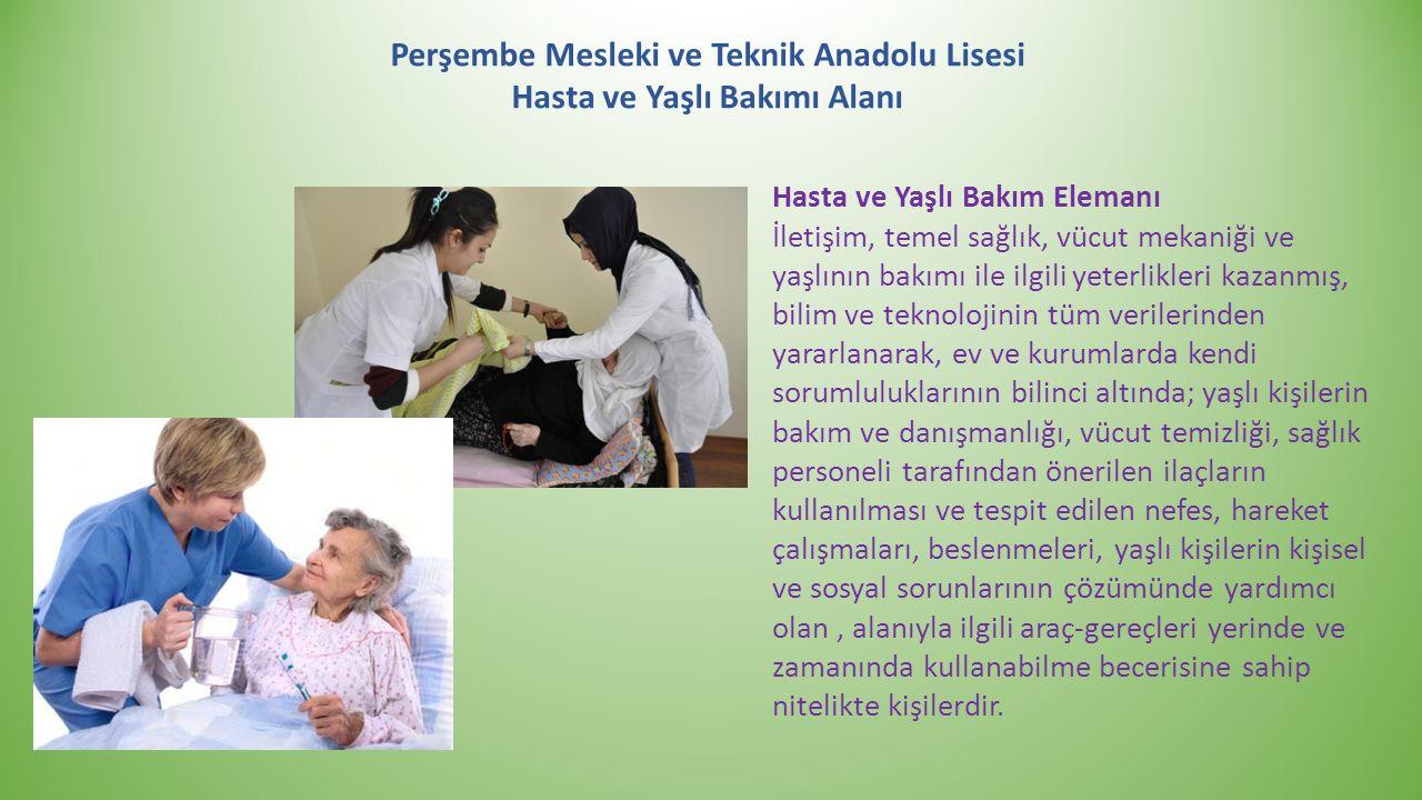Perşembe Mesleki ve Teknik Anadolu Lisesi Hasta ve Yaşlı Bakımı Alanı Hasta ve Yaşlı Bakım Elemanı İletişim, temel sağlık, vücut mekaniği ve yaşlının